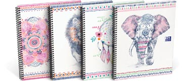 Oxford Boho Chic spiraalblok, ft A4+, 120 bladzijden, geruit 5 mm, geassorteerde kleuren