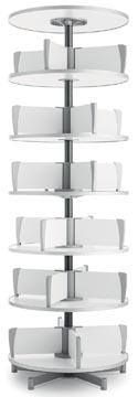 Moll klasseerzuil Multifile, 6 verdiepingen, hoogte 231 cm, voor maximum 144 ordners, wit