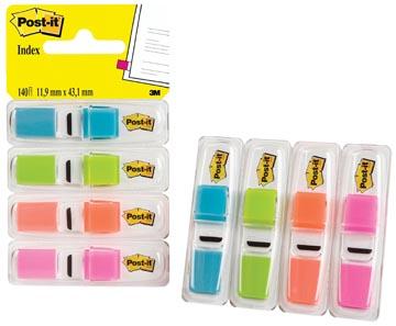 Post-it Index Smal, 4 x 35 tabs, turkoois, lichtgroen, oranje en roze