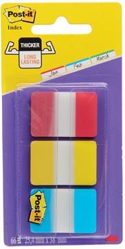 Post-it Index Strong, ft 25,4 x 38 mm, set van 3 kleuren (rood, geel en blauw), 22 tabs per kleur