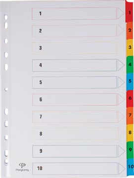 Pergamy tabbladen met indexblad, ft A4, 11-gaatsperforatie, geassorteerde kleuren, set 1-10