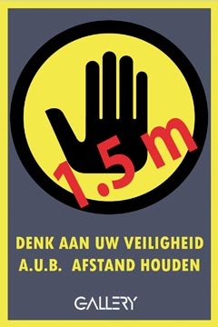 Gallery sticker, waarschuwing, houd 1,5 meter afstand, ft A5, Nederlands