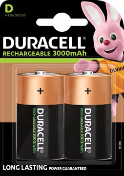 Duracell oplaadbare batterijen D, blister van 2 stuks