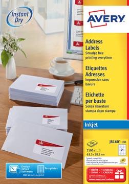 Avery J8160-100 adresetiketten 63,5 x 38,1 mm (b x h), 2.100 etiketten, wit